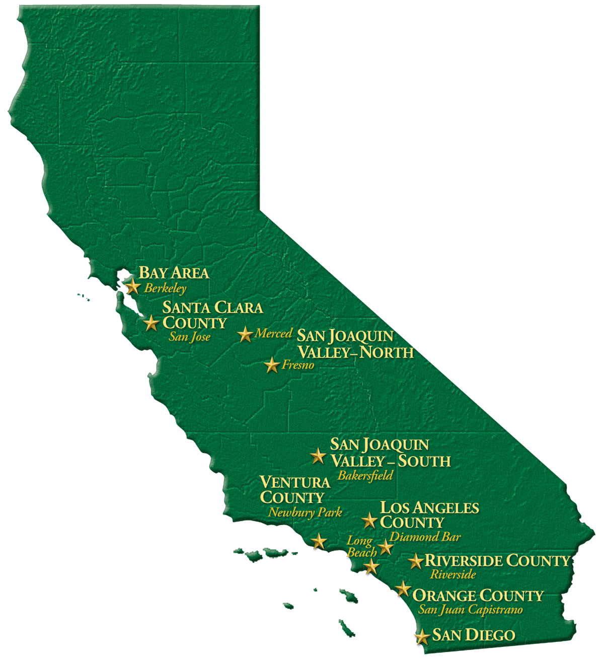 A map of Yorke's office locations across California.